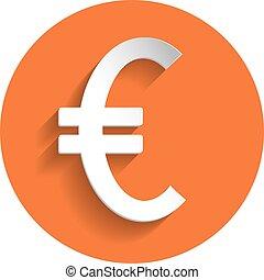 Euro icon, paper style