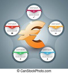euro, icon., povolání, infographics, vektor, illustration.