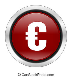 euro icon, red round button isolated on white background, web design illustration