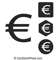 Euro icon set, monochrome