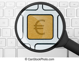 Euro icon under the magnifying glass