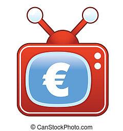 euro, ikone, auf, retro, fernsehen