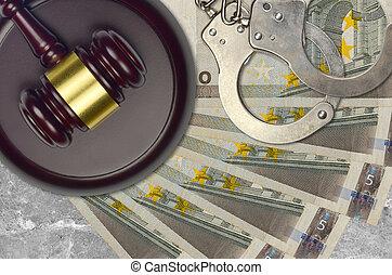 euro, impôt, procès, police, action éviter, judiciaire, menottes, juge, tribunal, ou, bribery., factures, 5, desk., marteau, concept