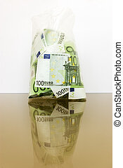 Euro in a transparent package