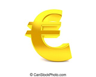 Euro in low angle isolated on white background. 3d ...