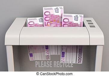 Euro In Shredder - A regular office paper shredder in the ...