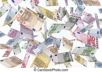 euro in the air - 3d illustration euro bank notes
