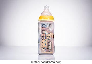 Euro In The Milk Bottle