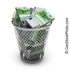Euro in the trash bin