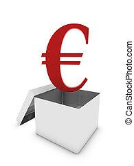 euro in white box