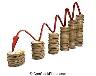 euro, krízis, diagram, noha, piros nyílvesszö
