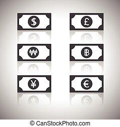 euro, libra, dinero, yen, dólar, -, ganó, icono, baht