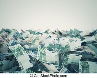 euro, mélange, billets banque, fond