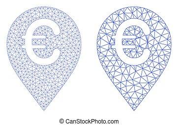 Euro Map Marker Icon - Vector Polygonal Mesh