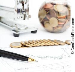 euro, moneta, e, penna, grafico