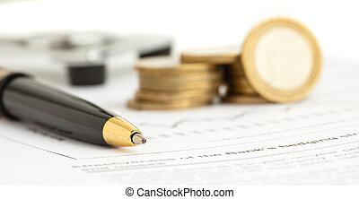 euro, moneta, e, penna