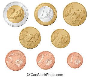 euro, monete
