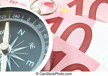 euro money and compass