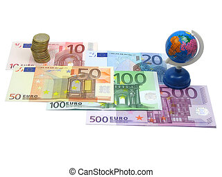 Euro money and world globe