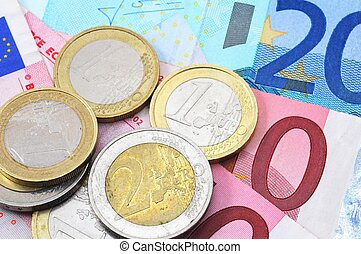 euro money background with coins and bills