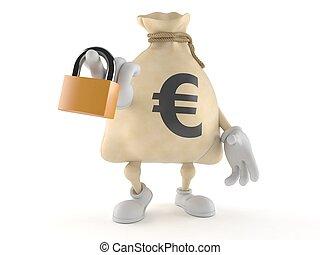 Euro money bag character holding padlock