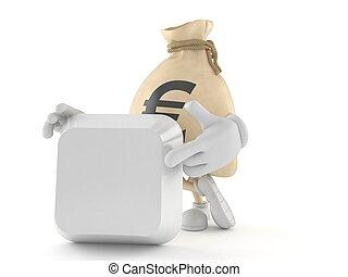 Euro money bag character with blank keyboard key