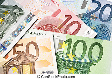 euro money banknotes - scattered euro currency banknotes ...