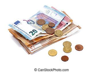 euro money bills with coins