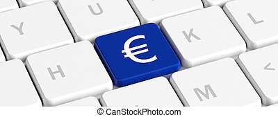 Euro, money. Blue key button with euro sign on a computer keyboard, banner. 3d illustration