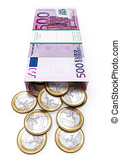 euro money box on white isolated ba