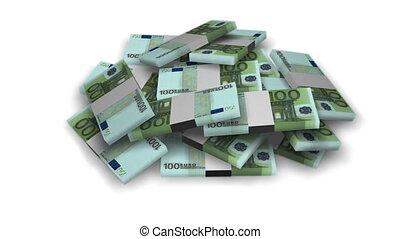 Euro money bundles on white - Euro money bundles rotating on...
