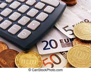 Euro money & calculator - Close up of a calculator with euro...