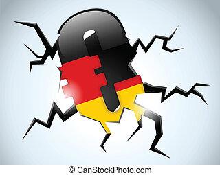 Euro Money Crisis Germany Flag Crack on the Floor