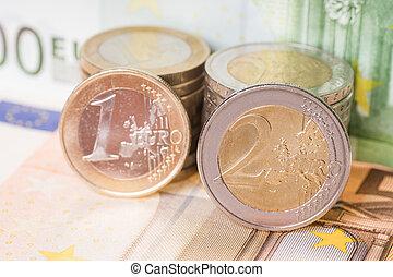Euro Money - Euro coins with euro banknotes