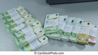 Euro cash pile of money in various banknotes