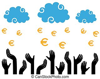 Euro Money falling from the clouds in the human hands