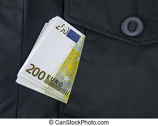 Euro money in a jacket pocket.