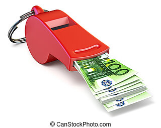 Euro money in red whistle 3D rendering illustration isolated...
