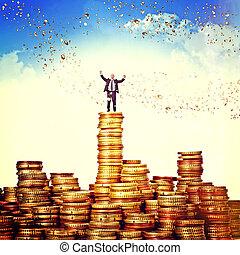 euro money - man on euro coin piles