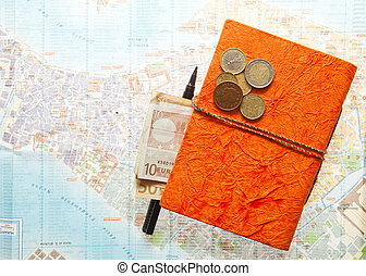 Euro money, Map and notepad diary - Travel Arrangement of...