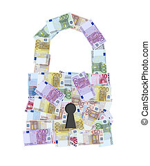 euro money notes padlock