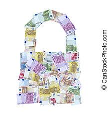 euro money notes padlock or bag
