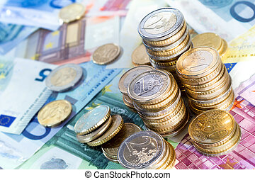 euro money stacks and bills  - euro money stacks and bills