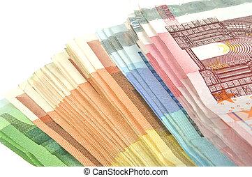Euro money - Pile of Euro money banknote on white