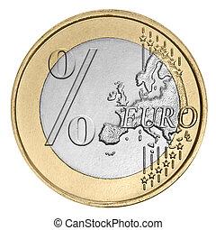 euro, monnaie, à, cent signe