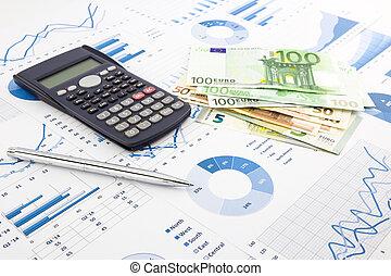 euro munt, op, grafieken, financieel planning, en, kosten,...