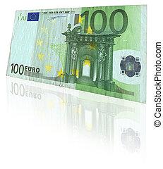euro, nota, com, reflexão