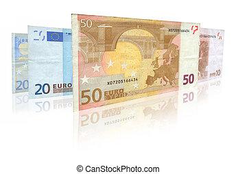 euro notas, com, reflexão