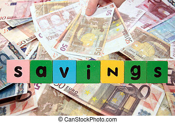 euro note savings in toy letters