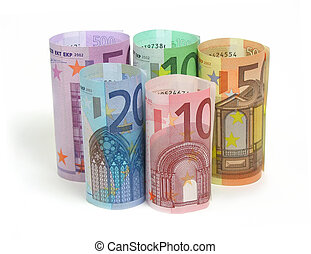 10, 20, 50, 100 and 500 euro notes on white background